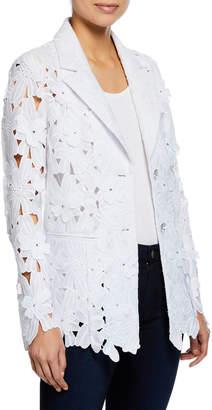 Berek Petite Peek-A-Boo 3D Open Floral-Lace Button-Front Jacket