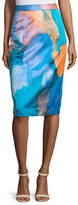Milly Watercolor-Print Midi Skirt, Teal