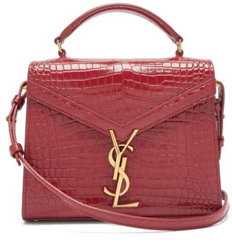 Saint Laurent Cassandra Mini plaque Croc-effect Leather Bag - Red