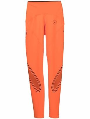 adidas by Stella McCartney Logo-Print Perforated-Panel Leggings