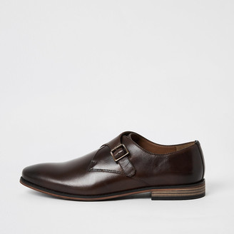River Island Dark brown leather monk strap shoes