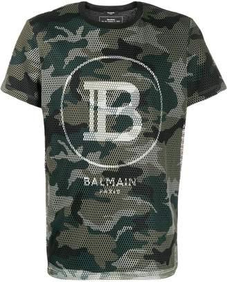 Balmain camouflage-print mesh overlay T-shirt