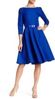 LAURA BETTINI 3/4 Length Sleeve Flare Hem Dress