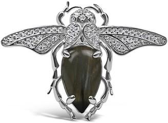 Bellus Domina Sterling Silver Labradorite Bug Ring