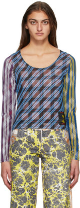 Chopova Lowena Multicolor Mesh Tartan Long Sleeve T-Shirt