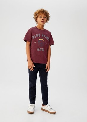 MANGO Embroidered message printed t-shirt maroon - 5 - Kids