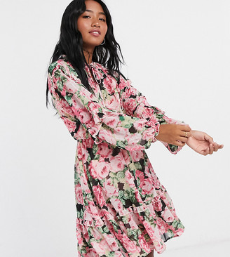 Vero Moda Petite skater dress with ruffle detail in pink floral
