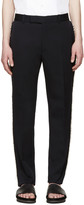 Alexander McQueen Navy Wool Frayed Trousers