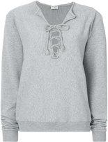 Saint Laurent neck-tied sweatshirt - women - Cotton - XS