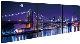 Chic Home Design Cityline 3Pc Set Wrapped Canvas Wall Art
