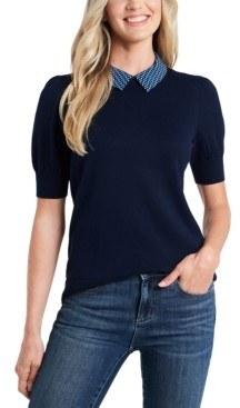 CeCe Puff-Sleeved Sweater with Printed Collar