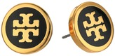 Tory Burch Lacquered Logo Studs Earrings