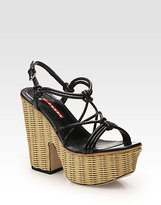 Prada Leather Raffia Platform Sandals