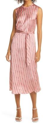 Rebecca Taylor Stripe Belted Silk Satin Midi Dress