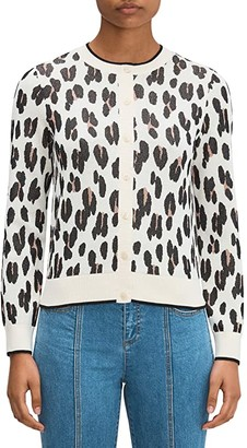 Kate Spade Leopard Signature Cardigan (Calcium) Women's Clothing