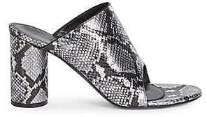 Balenciaga Women's Oval Block-Heel Snakeskin-Embossed Leather Mules