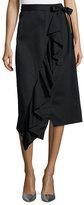 Robert Rodriguez Asymmetric Ruffle Wrap Midi Skirt, Black