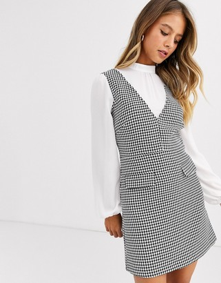 Miss Selfridge pinafore dress with blouse insert in check-Black