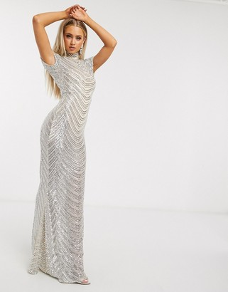 Club L London sequin geo print high neck maxi dress in cream