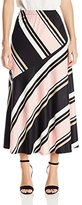 Notations Women's Petite Size Stripe Printed Maxi Skirt