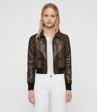 AllSaints Pascao Oba Leather Bomber Jacket