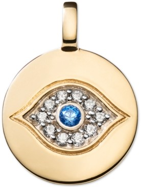 CHARMBAR Swarovski Zirconia Evil Eye Charm Pendant in 14k Gold-Plated Sterling Silver