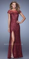La Femme Sequin Sheer Panel Prom Dress