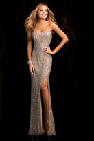 Scala Sweetheart Sequin Prom Dress in Nude 48673