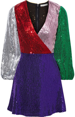 Alice + Olivia Blaze Wrap-effect Color-block Sequined Georgette Mini Dress
