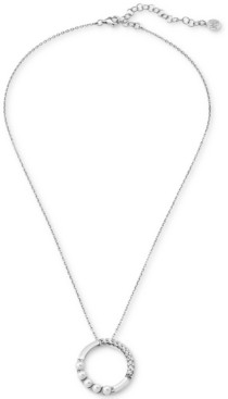 """Majorica Crystal & Imitation Pearl Circle Pendant Necklace in Sterling Silver, 16"""" + 2"""" extender"""