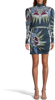 Nicole Miller Indigo Medallion Silk Mock Neck Mini Dress