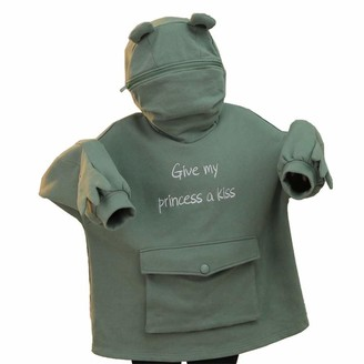 Layan B Women Hoodie Cute Frog Oversized Thick Casual Loose Green Zipper Hooded Top with Pocket Long Sleeve Tops (Green S)
