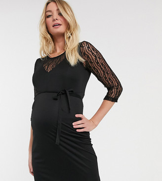 Mama Licious Mamalicious Maternity bodycon dress with lace insert in black