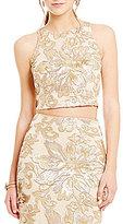 Belle Badgley Mischka Floral Sequin Margot Crop Top