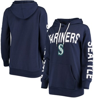G Iii Women's G-III 4Her by Carl Banks Navy Seattle Mariners Extra Inning Colorblock Pullover Hoodie