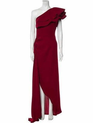 Elie Saab One-Shoulder Long Dress Red