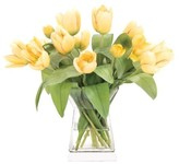 The Well Appointed House Yellow Tulips in a Glass Square Tower Vase