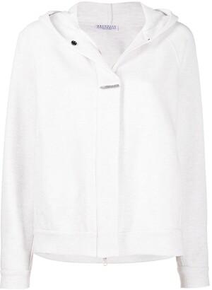 Brunello Cucinelli Concealed-Zip Cotton-Blend Hoodie