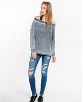 Express one eleven burnout off the shoulder sweatshirt