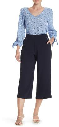 Cynthia Steffe CeCe by Scalloped Pocket Wide Leg Crepe Pants