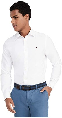 Tommy Hilfiger New England Solid Oxford Button-Down Shirt in Custom Fit (Bright White) Men's Clothing