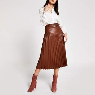 River Island Womens Brown faux leather pleated midi skirt