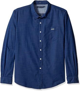U.S. Polo Assn. Men's Long Sleeve Slim Fit Cotton Dobby Straight Point Collar Sport Shirt