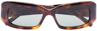 Saint Laurent Rectangle-Frame Tortoiseshell Sunglasses