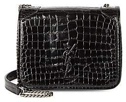 Saint Laurent Women's Mini Niki Croc-Embossed Leather Crossbody Bag