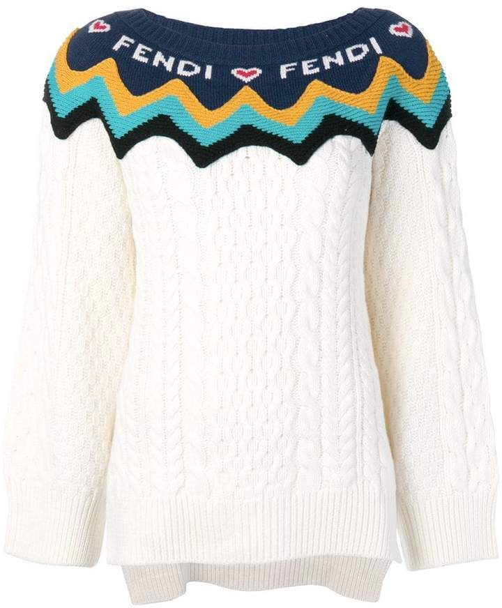 Fendi logo colour-block sweater
