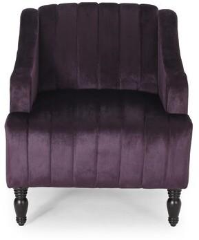 """House of Hampton Gonzales Glam Velvet 22"""" Club Chair Fabric: Velvet Blackberry"""