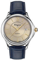 Salvatore Ferragamo Round Stainless Steel Leather Strap Watch
