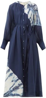 Anaak - Raj Tie-dye Cotton-blend Midi Dress - Womens - Navy Multi