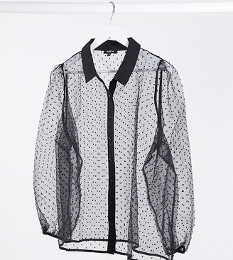 Simply Be dobby mesh shirt in black